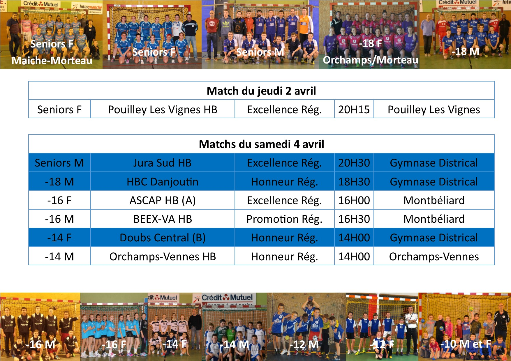 Annonce matchs 04 avril 1