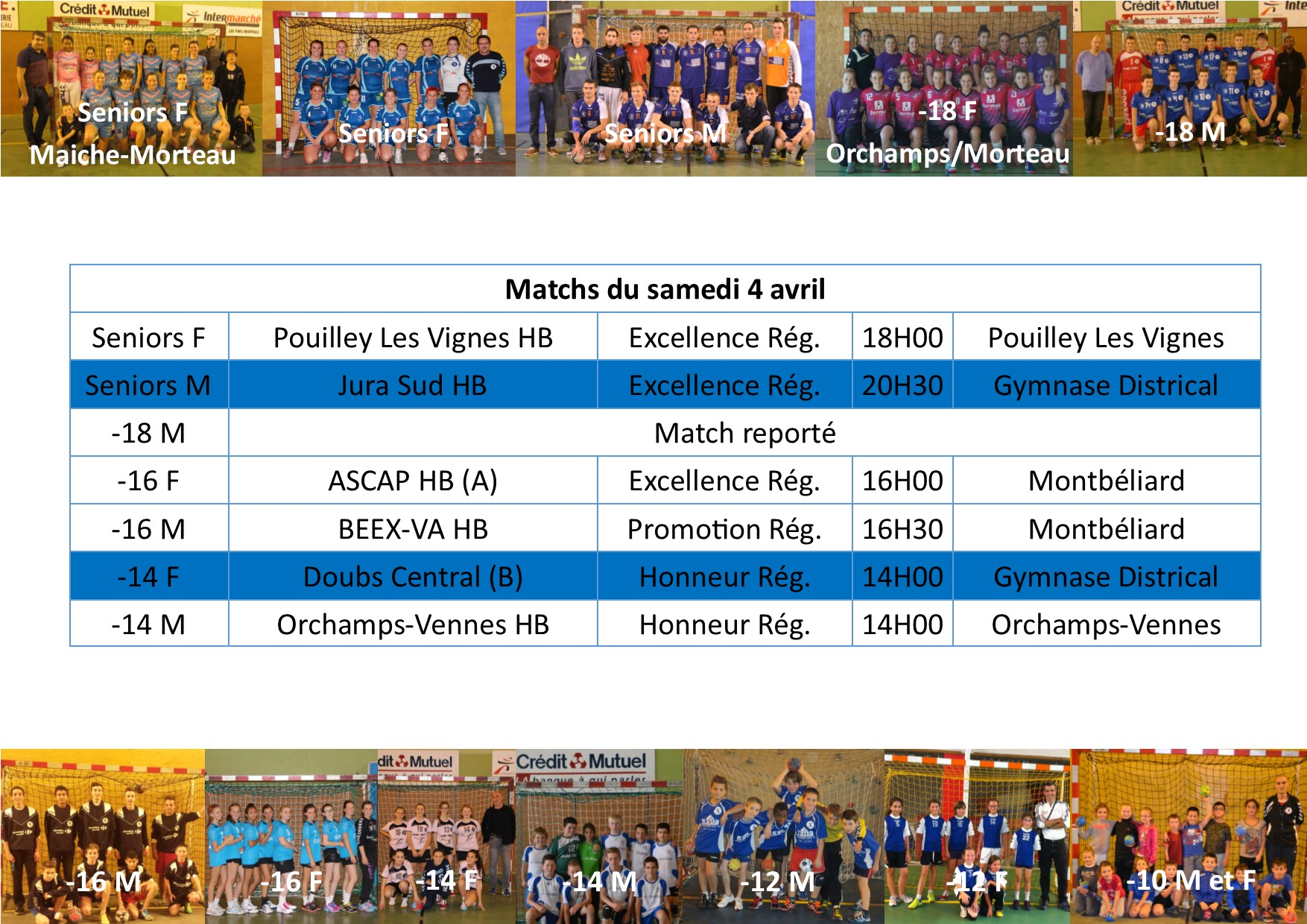 Annonce matchs 04 avril