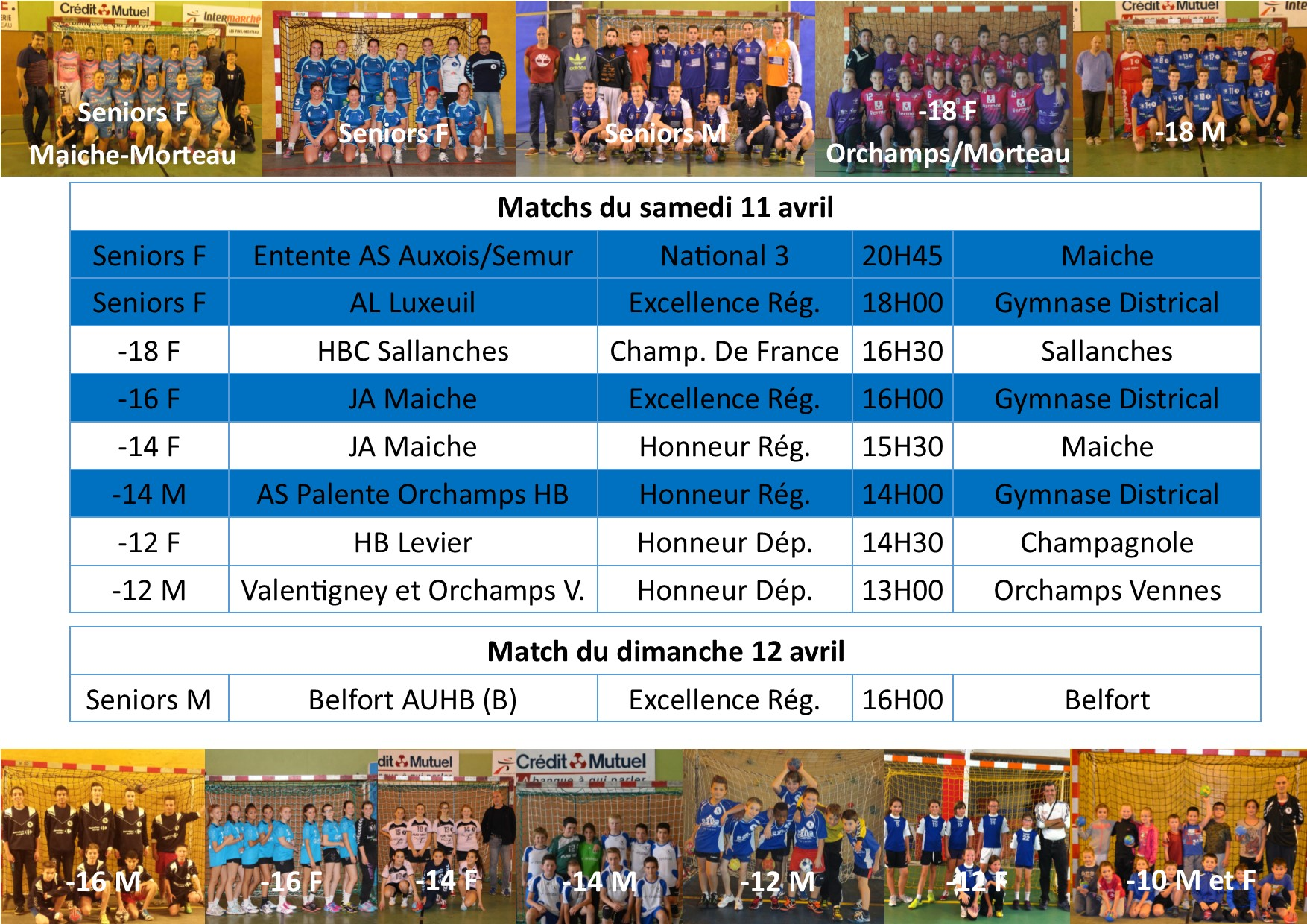 Annonce matchs 11 12 avril