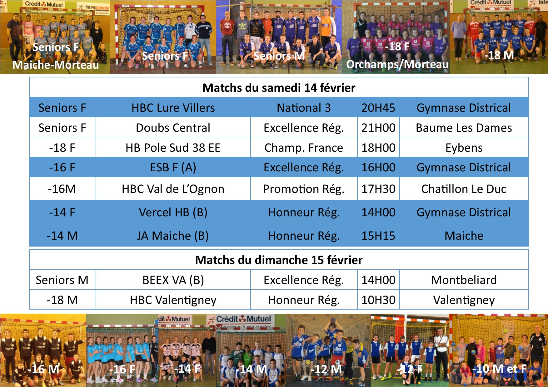 Annonce matchs 14 15 fev