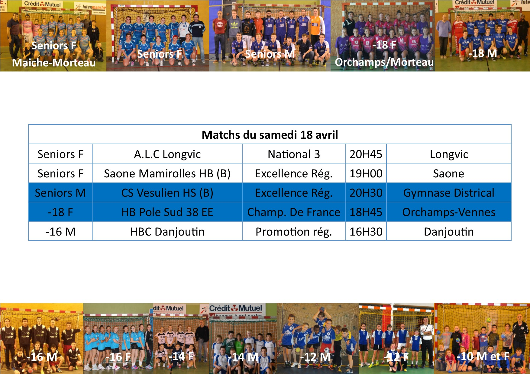 Annonce matchs 18 19 avril
