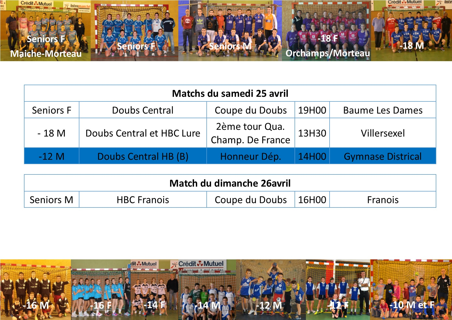 Annonce matchs 25 26 avril