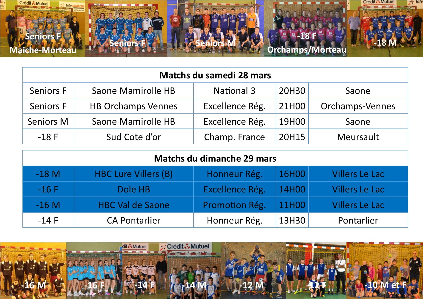 Annonce matchs 28 29 mars