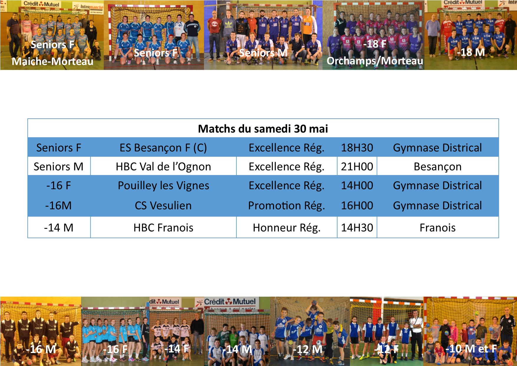Annonce matchs 30 31 mai