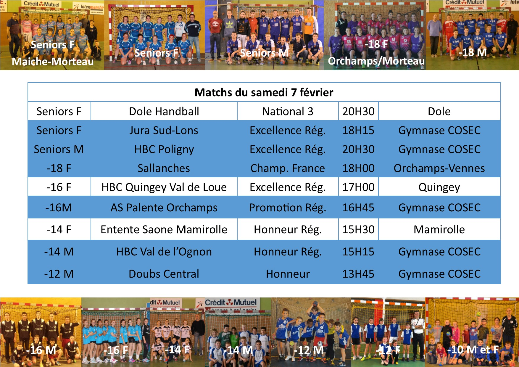 Annonce matchs 7 fev