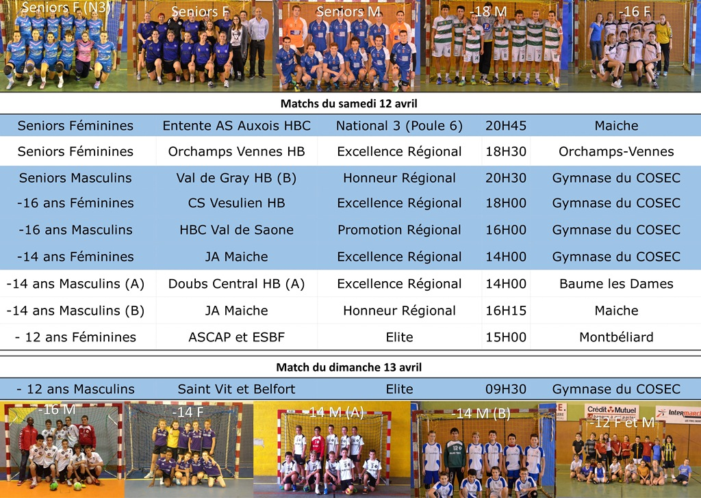 Annonce matchs 12 13 avril