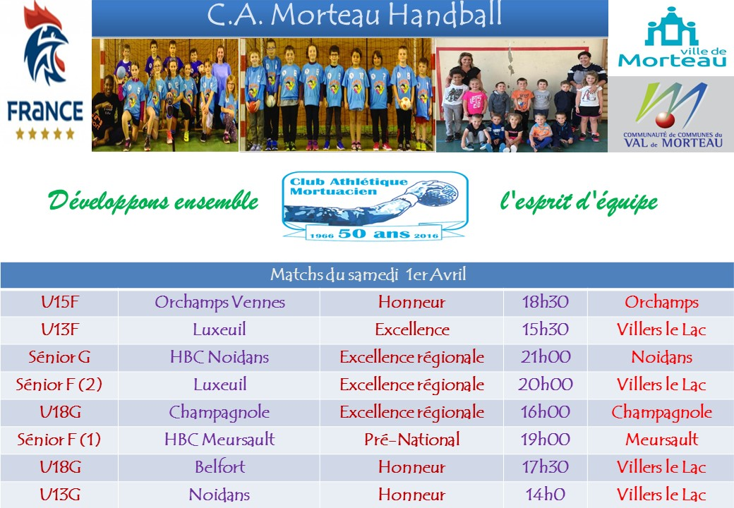 Competitions semaine 1er avril 2017