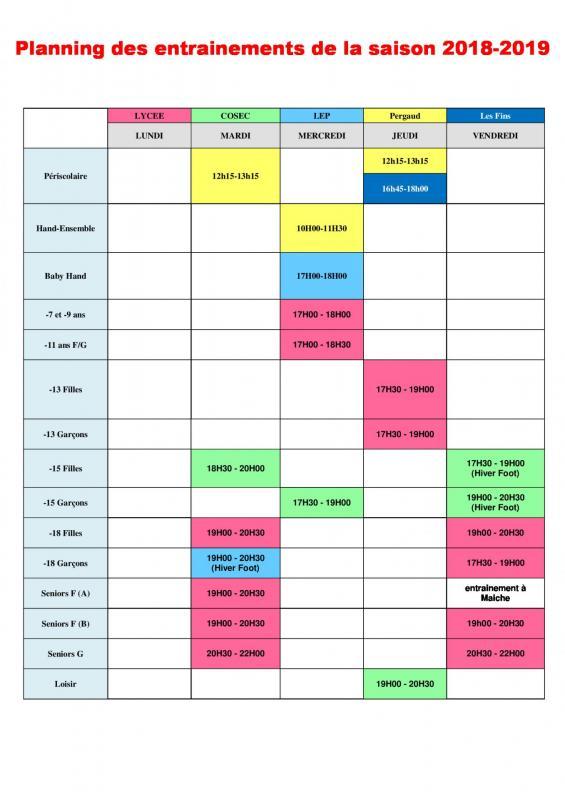 Planning des entrainement 2018 2019 1